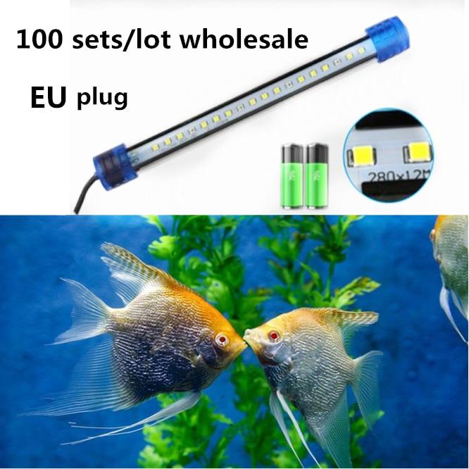 100sets EU Plug LED Aquarium Light Fish Tank Waterproof 2835 SMD LED Bar Light Aquatic Lamp Submersible Aquarium lamp 20-50CM