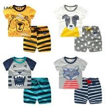 80-130cm de algodón niños conjunto pijama dibujos animados los niños pijama de verano de bebé ropa de dormir ropa Infantil Homewear traje de noche Pijamas