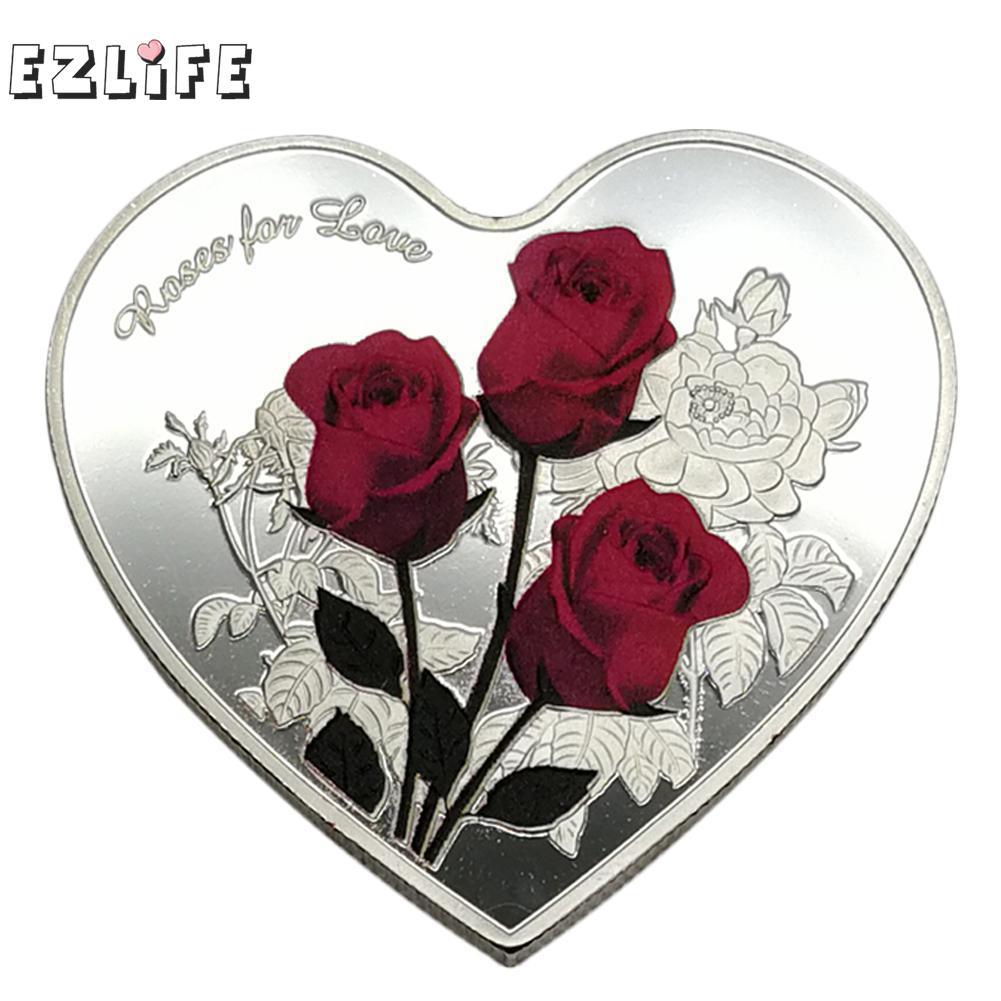 1 шт 38 мм Сердце Роза День Святого Валентина памятная монета я люблю тебя эмуляция День Святого Валентина игра валюта