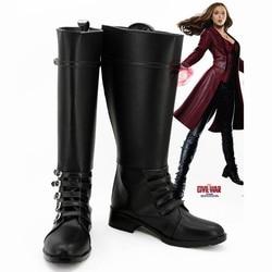 Marvel Capitão América A Guerra Civil Feiticeira Escarlate Wanda Django Maximoff Preto Sapatos Cosplay Botas