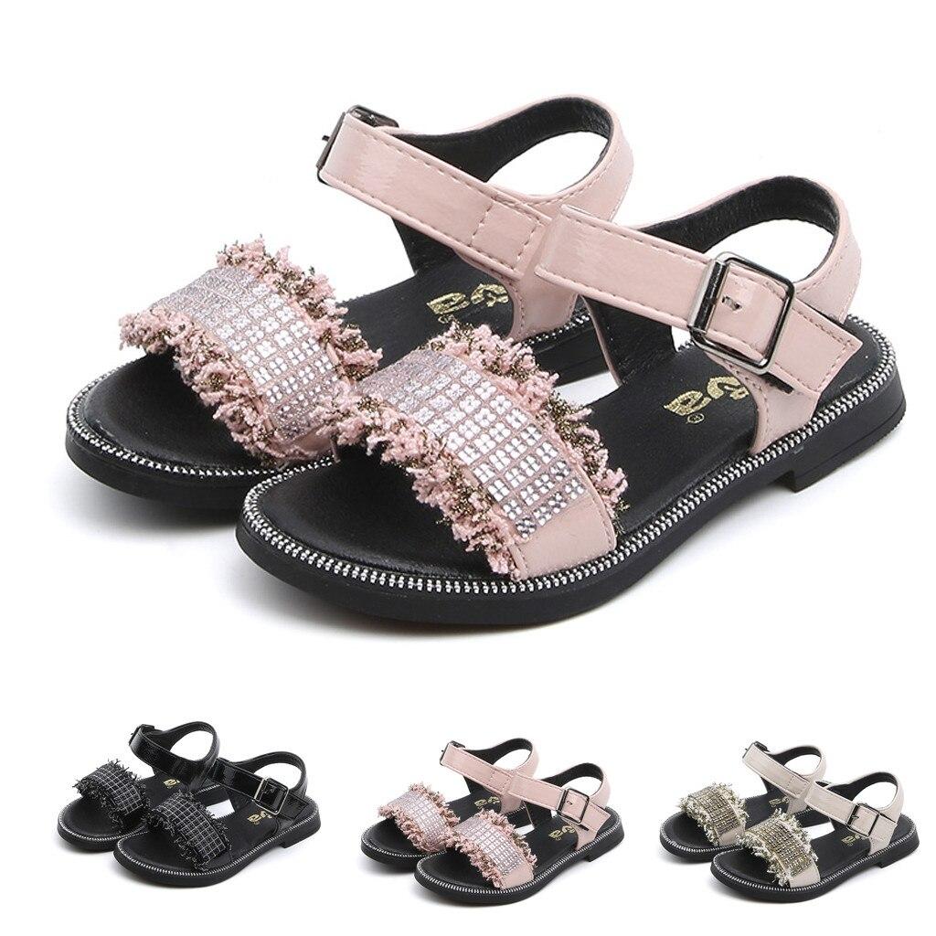 Huang Neeky W #4 nueva moda niños pequeños niñas bebé verano cristal ostentoso dulce fiesta princesa Zapatos Sandalias diseño encantador
