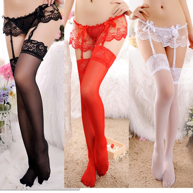 Underwear Sexy Womens Sheer Lace Top Thigh-Highs Stockings & Garter Belt Suspender Set Lace Sexy Lin