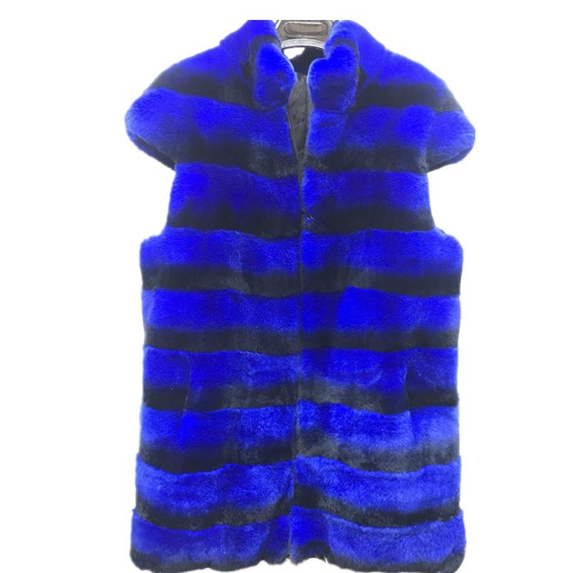 الفراء الحقيقي سترة من الطبيعي أرنب ريكس الفراء النساء الشتاء الفراء سترة شينشيلا اللون الأزرق الأحمر سعر المصنع حامل طوق stripedV167