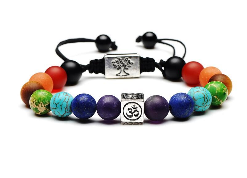 Браслет из 7 Чакры и дерева жизни, многоцветные натуральные бусины, Будда, Целительный амулет для женщин и мужчин, ручная работа, для йоги, ук...
