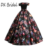 dk bridal off the shoulder ball gown prom dress long 3d floral print formal gowns vestido de festa dk1903