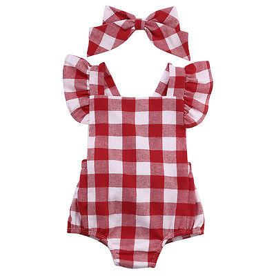 Moda 2018 niños recién nacidos niñas a cuadros Ruflles mono juego de conjunto de ropa 0-18M