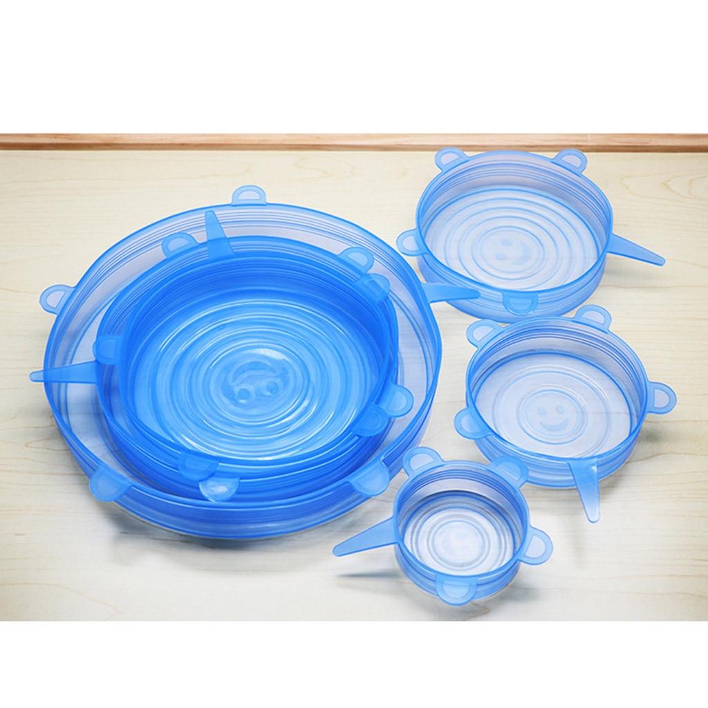 6 pçs reutilizável silicone envoltório tigela selo capa estiramento tampa manter alimentos frescos selo tigela elástico envoltório capa cozinha panelas