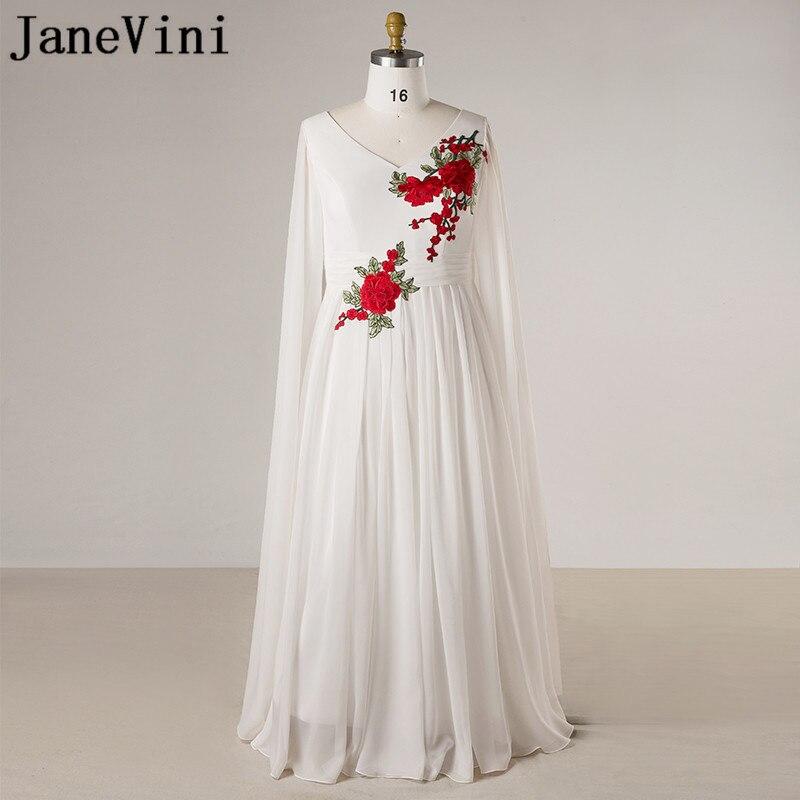 JaneVini-vestidos de talla grande para Madre de La novia, vestido Formal árabe de gasa para mujer, blanco, manga larga, para fiesta de noche, La Mejor Madre