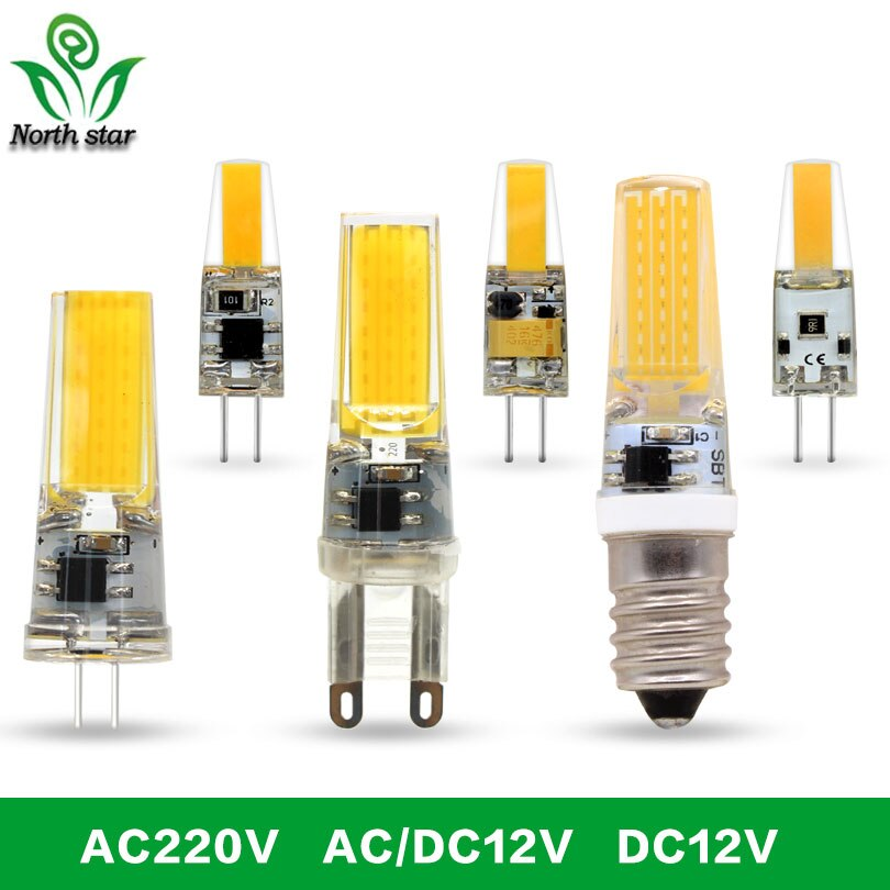 5 unids/lote LED G4 G9 E14 bombilla de la lámpara AC/DC 12V 220V 9W 6W COB iluminación LED SMD luces reemplazar la lámpara halógena
