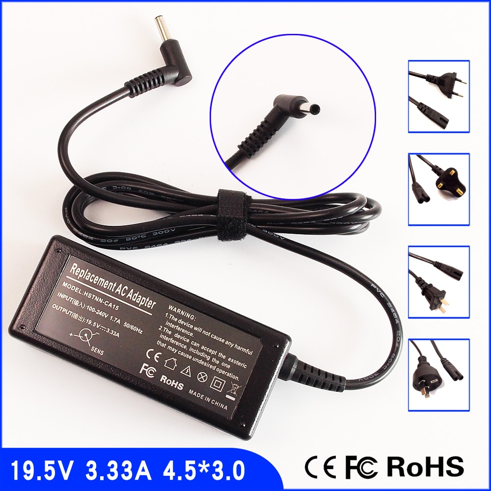 19.5 V 3.33A Laptop Ac Power Adapter Carregador para HP 15-f337wm 15-f387wm 15-f305dx 15-R137wm 15-g030so 15-r001la 15-f209wm