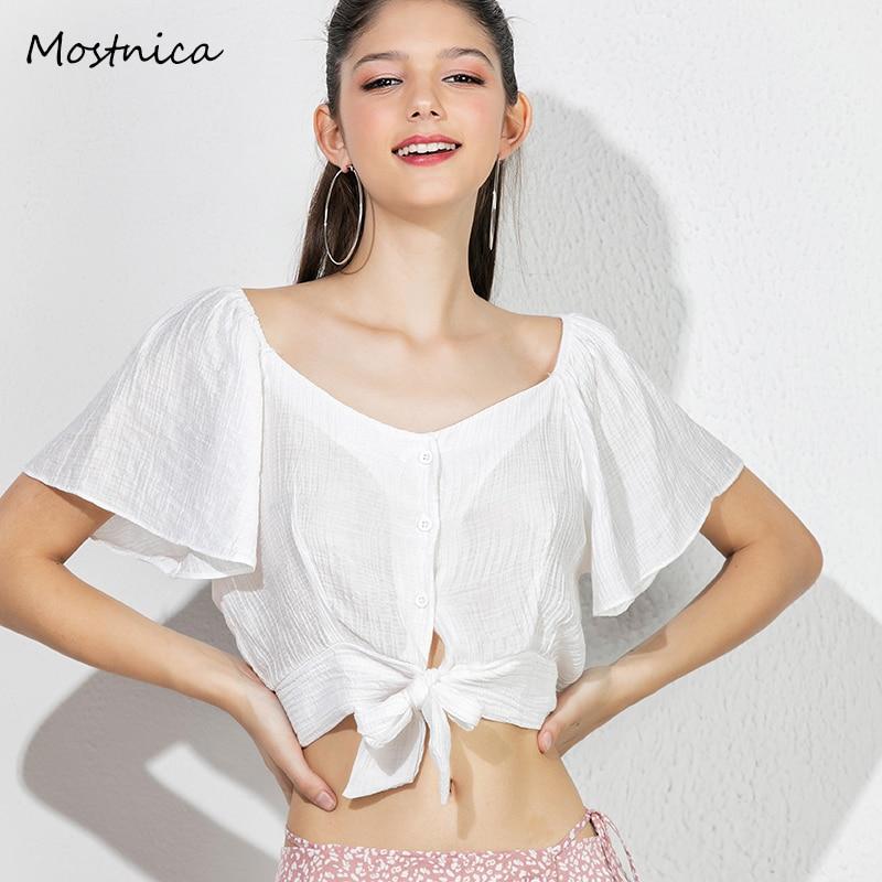 Mostnica blanco verano Tops para mujer Sexy Batwing manga corta Camisetas cuello en V gasa sólido camisa de las mujeres ropa mujer