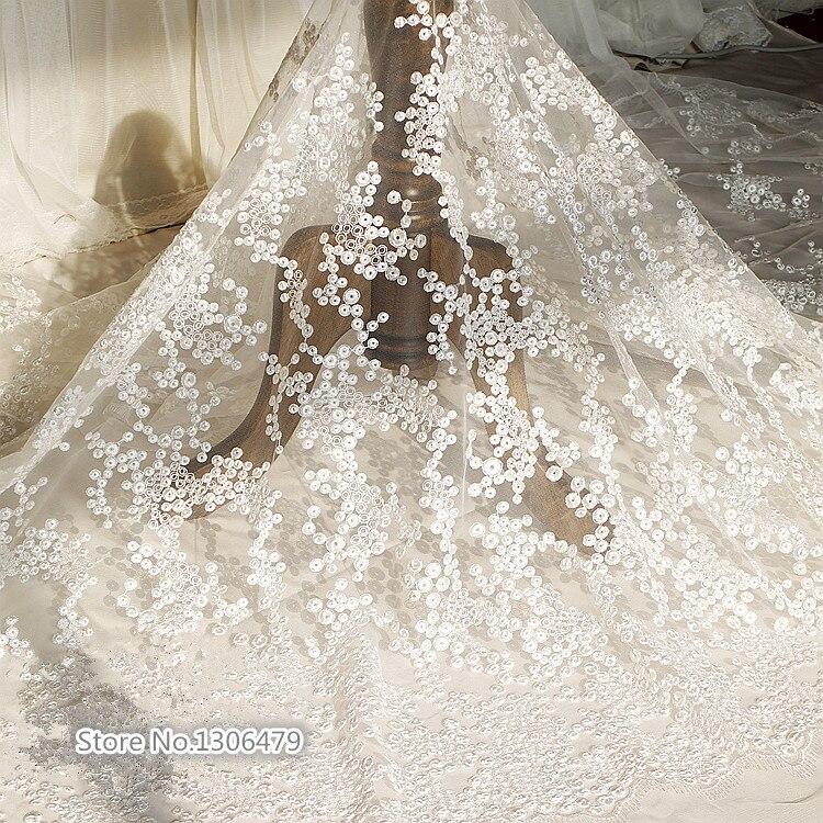 Exquisito encaje bordado blanco tela vestido de boda DIY accesorios 130cm de ancho RS98
