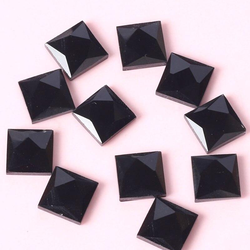 ¡Envío gratis! ¡oferta! Diamantes de imitación cuadrados negros de cristal con parte posterior plana, carcasa para teléfono móvil DIY, materiales de joyería de alta calidad para decoración de uñas