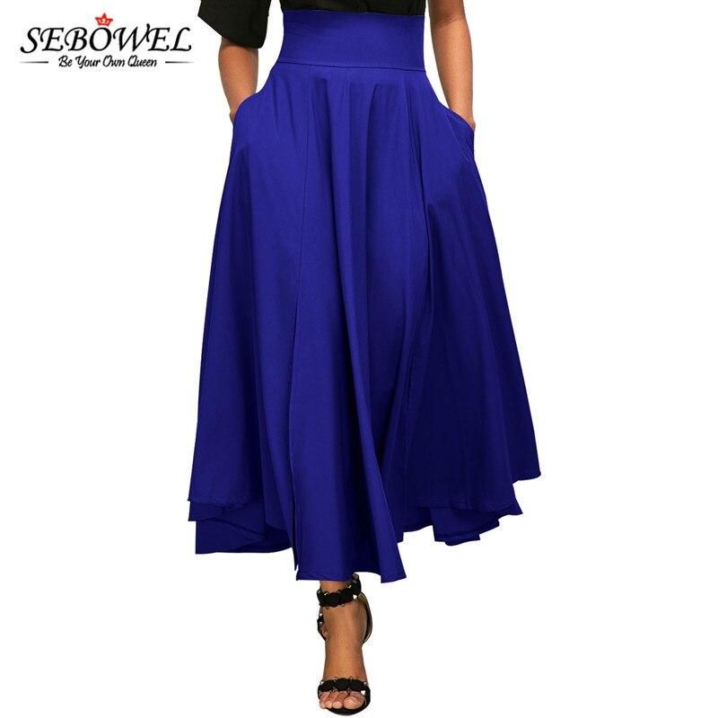 Женская винтажная длинная юбка SEBOWEL, с высокой талией и поясом, с бантом на спине, большие размеры, Осень-зима 2020, S-XXL