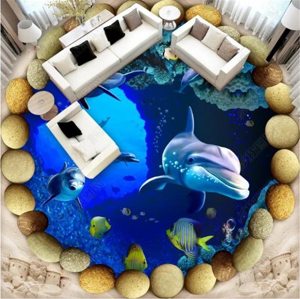 Mural personalizado de cualquier tamaño, papel tapiz 3D, adoquín redondo, mundo submarino, escalera 3D, mar, piso interior, Mural de decoración