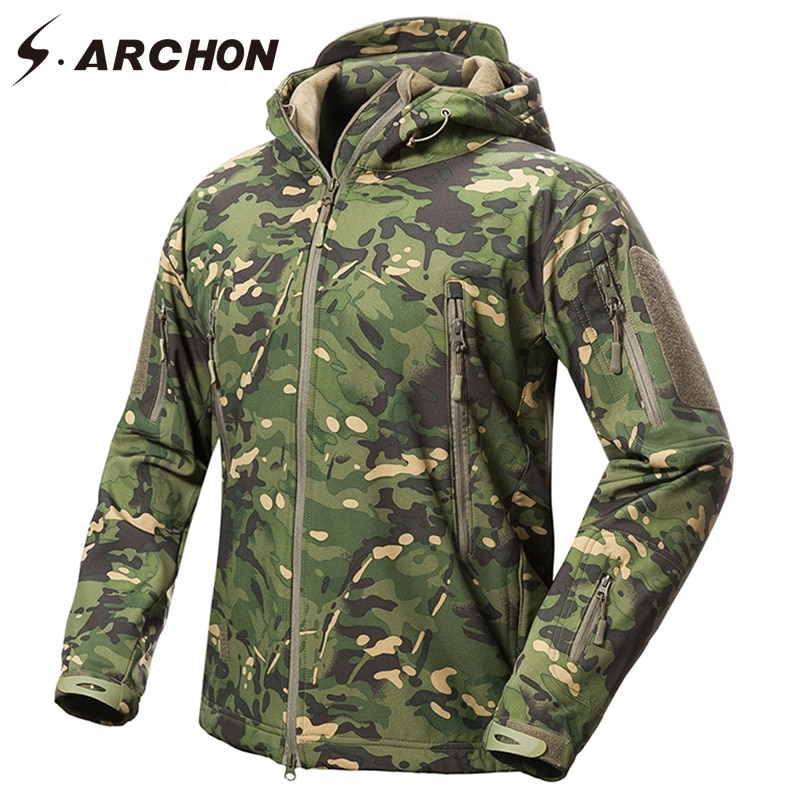S.ARCHON Tactical Camouflage Jacket Men Waterproof Soft Shell Military Jacket Army Fleece Coat Multicam Camo Hooded Windbreaker men zip camo hooded jacket