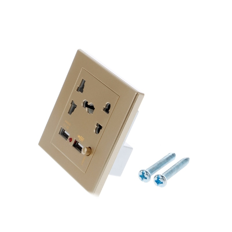 Nuevo Cargador eléctrico de pared LED USB Dual adaptador de toma de corriente interruptor de encendido/apagado H15