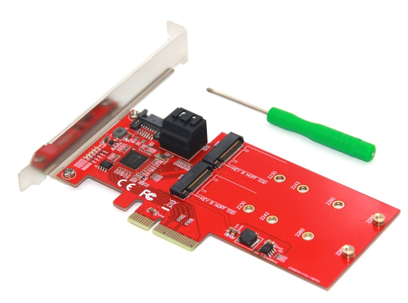 M2 SATA Raid Controller Card PCI Express X4 to 2Port SATA 3.0 6Gbps + 2Port M.2 NGFF SSD B Key Support RAID0 RAID1 AHCI Mode NEW