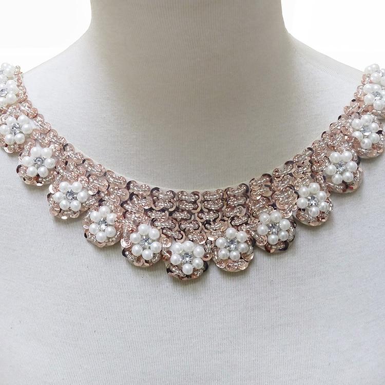 2 Pçs/lote Moda frisado lantejoulas rendas colarinho decoração colar falso Colar diy roupas acessórios DIY