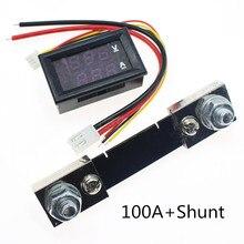 Mini 0.28 pouces LED voltmètre numérique ampèremètre DC 100 V 50A 100A Volt ampèremètre indicateur de tension testeur avec shunt