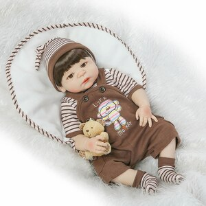 """23"""" Full Body Silicone Reborn Baby Boy Dolls Brown Hair Wig Magnetic Mouth Fashion Dolls for Kids Gift Bebe Alive Bonecas Reborn"""