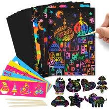 50 pièces 20*14cm gratter Art papier magique peinture jouet dessiner papier enfants magique couleur gratter enfant créatif coloré dessin jouet cadeaux