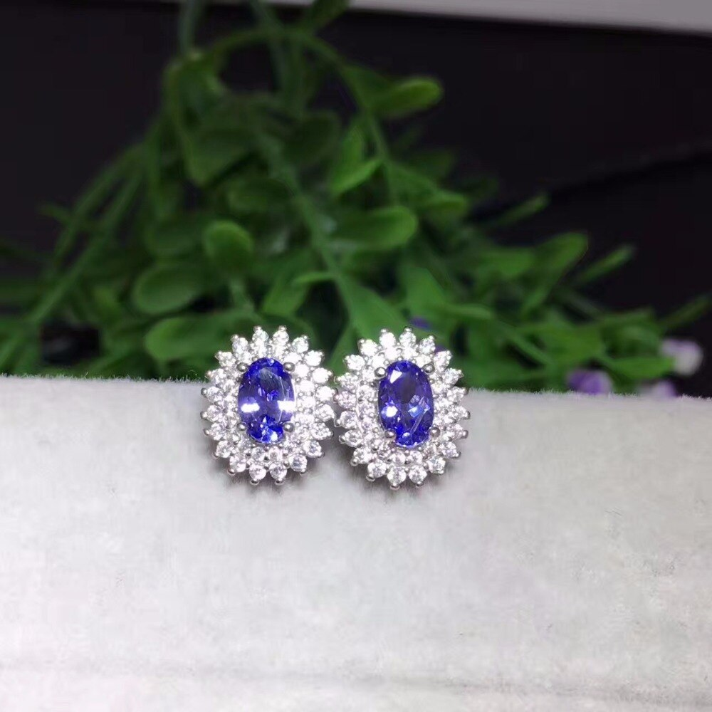 Natural tanzanite earrings wholesale, beautiful colors, natural gemstones, 925 silver classic style,