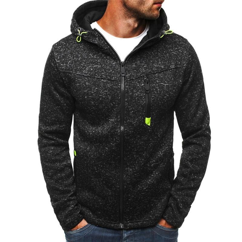 Black Male Sweatshirt Mens Zipper Hoddies Streetwear Fitness Sweatshirt Workout Tracksuit Training Sport Running Mens Top