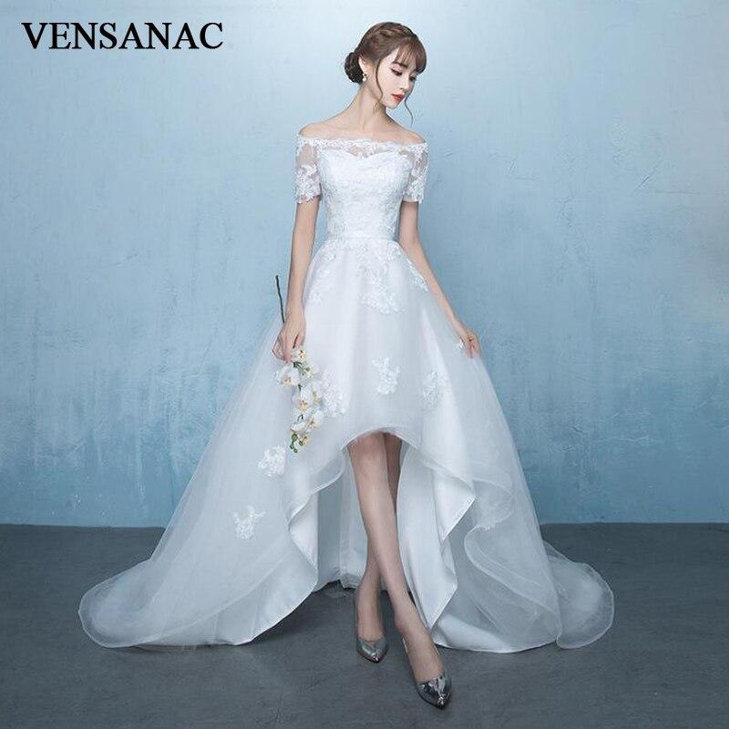 VENSANAC الوهم رقبة قارب دانتيل زينة عالية منخفضة فساتين الزفاف أنيقة وشاح سويب تراين زي العرائس