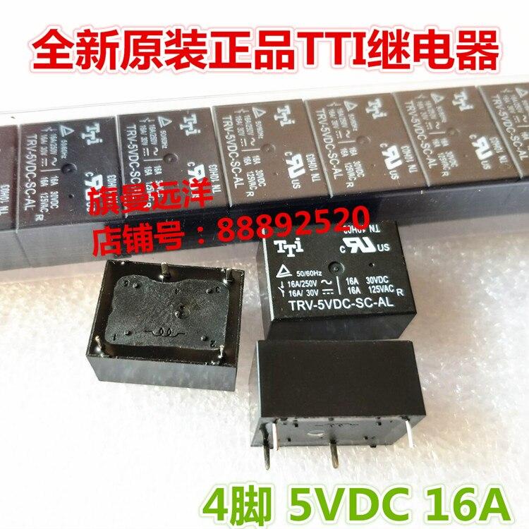 5 unids/lote TRV-5VDC-SC-AL de 16A 4PIN 5VDC 5V