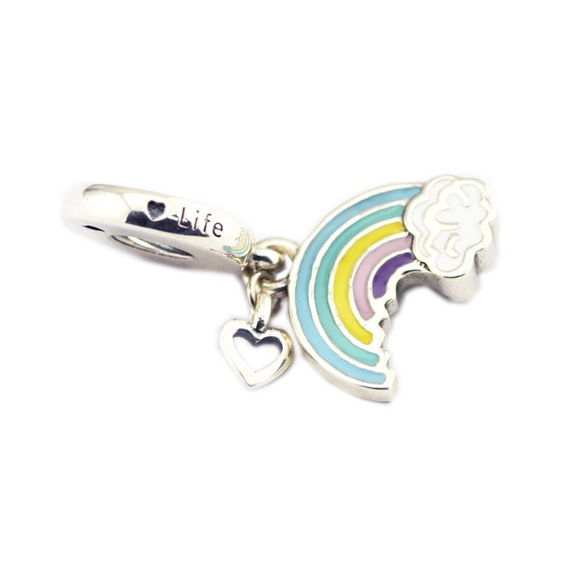 Бусины для женщин Радуга любви очарование подходит амулеты оригинальный серебряный браслет и ожерелье из стерлингового серебра ювелирные ...