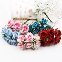 Mini roses artificielles en soie  2 5cm  6 lot  fausses fleurs pour un Bouquet  une couronne artisanale  pour un scrapbooking  pour une decoration de mariage  pour la maison