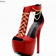 Olomm nouvelles femmes plate-forme sandales Sexy mince talons hauts sandales belle bout ouvert magnifique rouge fête chaussures femmes nous grande taille 4-10.5
