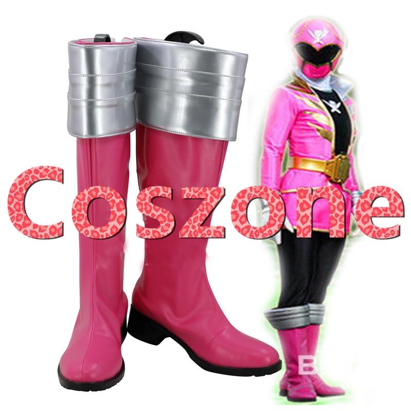 Kaizoku Sentai Gokaiger Gokai Pink Cosplay Shoes Boots Halloween Carnival Cosplay Costume Accessories