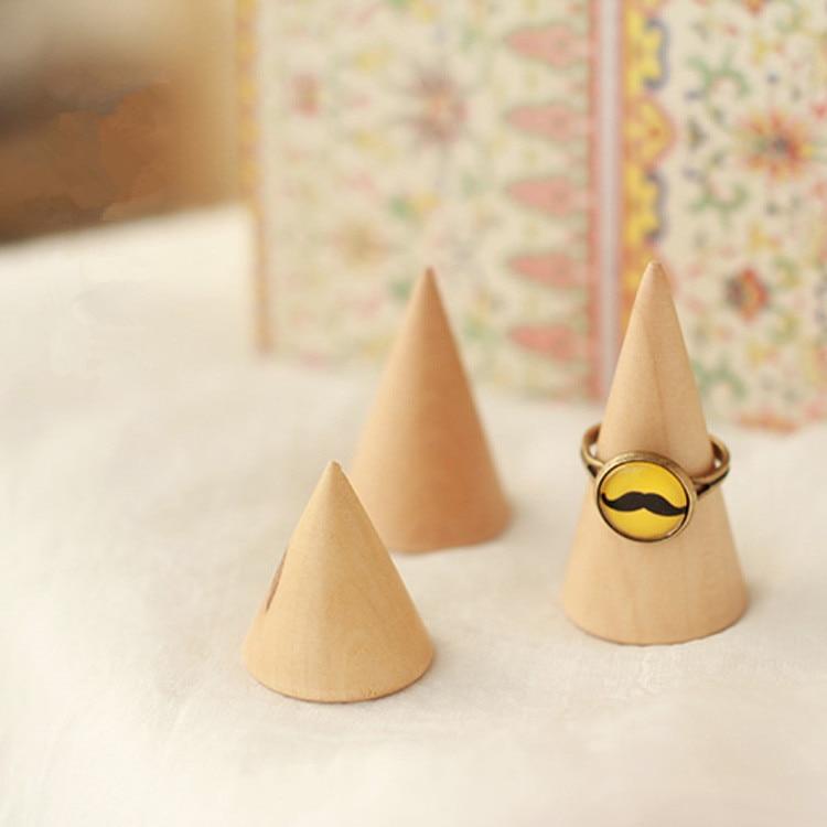 Anillo de estilo japonés de madera de loto, soporte de exhibición, soporte de anillo, organizador de anillo de cono de madera, joyería de cono/soporte 3 uds