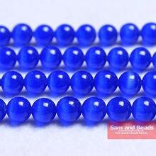 Livraison gratuite perles en pierre de lune naturelle, opale bleu œil de chat perles rondes en vrac 16