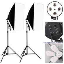 Foto Studio Kit Fotografie Beleuchtung 2PCS * 4 Sockel Lampe Halter + 2PCS * 50*70CM softbox + 2PCS * Licht Stehen Foto Soft Box