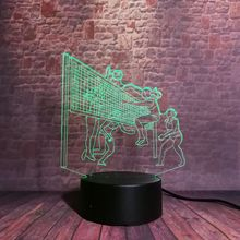 Sport Model Volleyball Game Figure Juguets 3D Illusion Nightlight Flash LED 7 Colors Changing Light Flash Desk Decor Toys