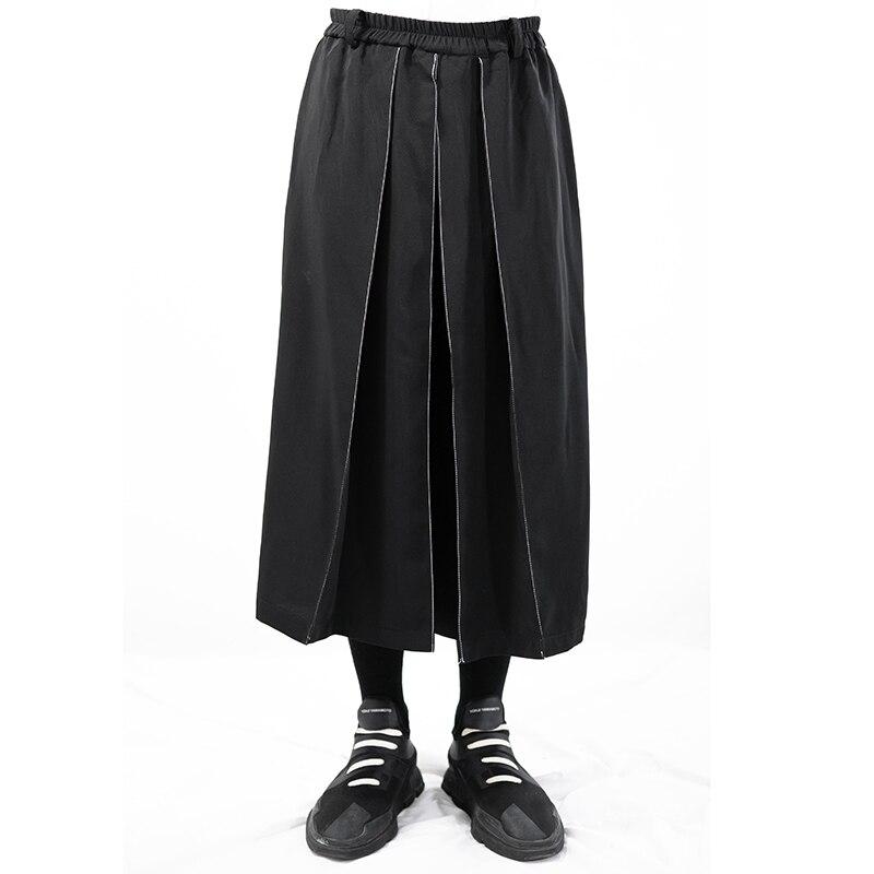 Pantalones informales originales para hombre con diseño dividido de desconstrucción irregular, Pantalones anchos y pantalones de falda oscura. ¡S-6XL!