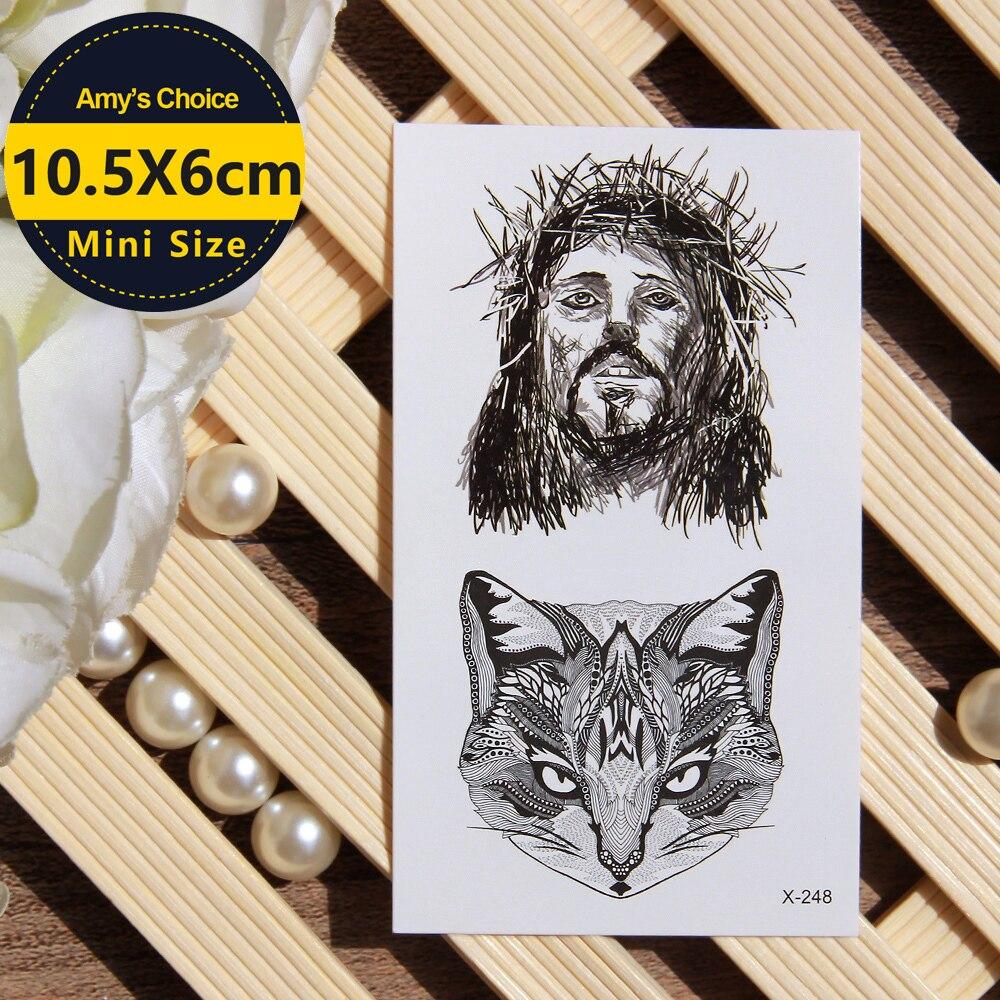 Jesús con corona de espinas tatuaje temporal arte corporal brazo Flash tatuajes adhesivos resistentes al agua tatuaje Henna Tatuaje falso pegatina