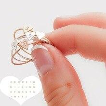 A-Z empilable à la main 26 lettre anneau Initial minuscule coeur anneaux pour les femmes couleur or bagues bijoux en gros