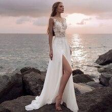 2020 Boho Wedding Dress with High Slit Illusion Bodice Vestido de Novia Appliqued Sexy Custom Made Chiffon Beach Bridal Gown