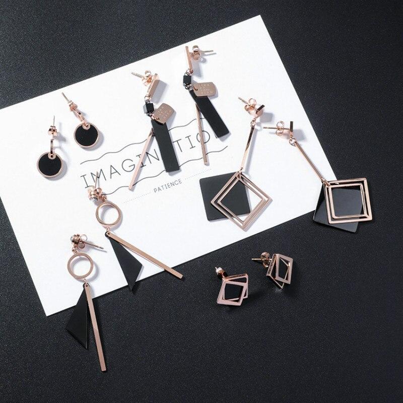 Geometric Round Plain Irregular Drop Earrings Men Women Rose Gold Metal Black Triangle Stainless Steel Earrings Brincos