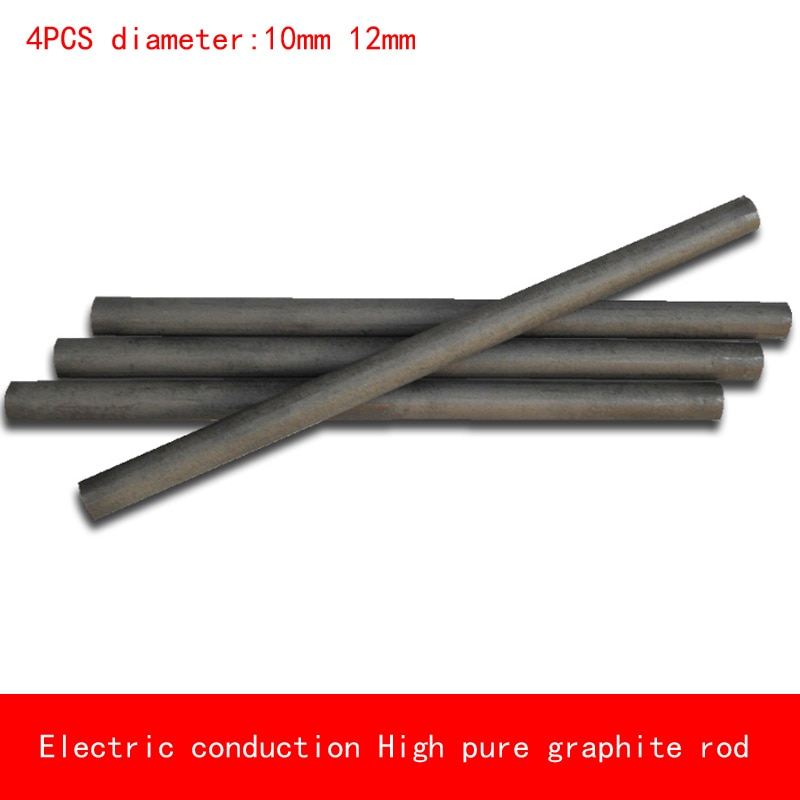 4pcs diameter 10mm 12mm length 50-300mm heat resistant Electric conduction high Pure Graphite rod Electrode Carbon rod