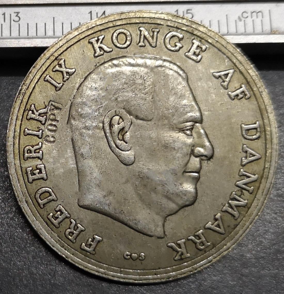1964 Dinamarca 5 Kroner-Frederik IX (Casamento de Anne-Marie) de Prata Banhado A Coin Copy
