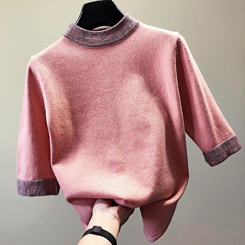 Модный Свободный вязаный свитер с рукавом до локтя женские водолазки в стиле