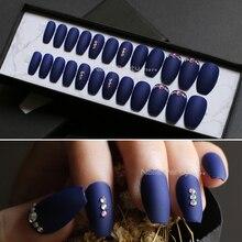 fake nails coffin Jewelry Navy blue full sets Shiny AB diamond false nails Ballerina MqpQ handmade DIY Match jewelled nails