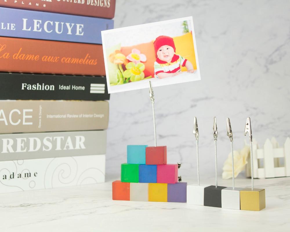 Soporte de cubitos de Color Clip de foto de Alambre de cocodrilo, soporte de Tarjeta de notas, Favor de lugar de fiesta de boda de mesa, abrazadera de nota de regalo personalizada