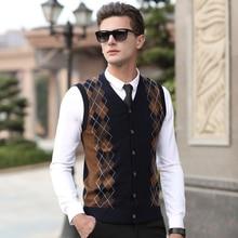 Neue 2017 herbst & winter herren argyle wolle pullover strickjacke sleeveless kaschmir pullover v-ausschnitt plaid strickjacke pullover weste