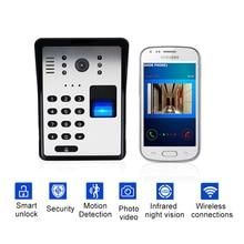 Sonnette vidéo intelligente sans fil   Sonnette vidéo Wifi intelligente, RFID mot de passe, interphone déverrouillage par empreinte digitale, sonnette sans fil IR